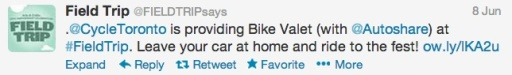 Bike Valet Tweet