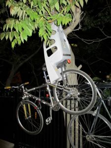 Bike parked on bridge