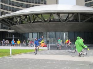 Cyclists ride at city hall