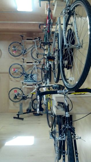 A wall of new bikes